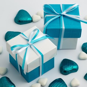White Glossy & Turquoise Silk Two Tone Square Box and Lid