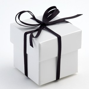 White Glossy Square Favour Box with Lid