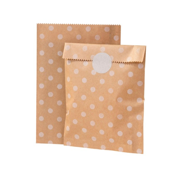 White Polka Dot Kraft Sweet Bags