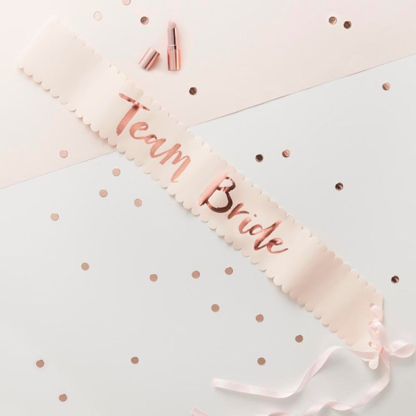 Pink & Rose Gold Team Bride Sashes - 6 Pack