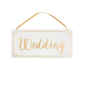 Small Gold & White Wedding Hanging Sign