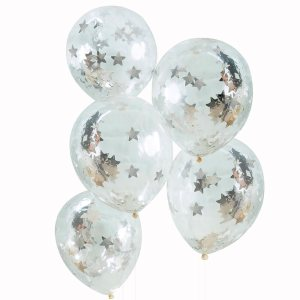 Silver Star Shaped Confetti Filled Balloons