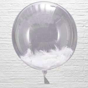 White Feather Filled Orb Balloons x 3