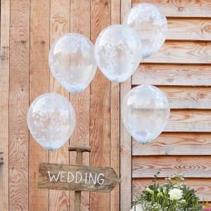 """White Confetti Balloons - 12"""""""