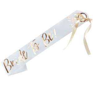 White And Gold Bride to Be Sash