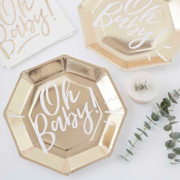 Gold Foiled Oh Baby! Paper Plates