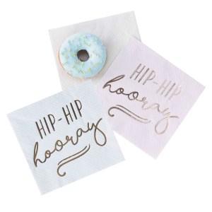 Gold Foiled Hip Hip Hooray Pastel Paper Napkins