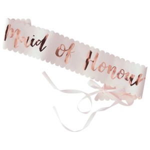 Pink & Rose Gold Maid of Honour Sash