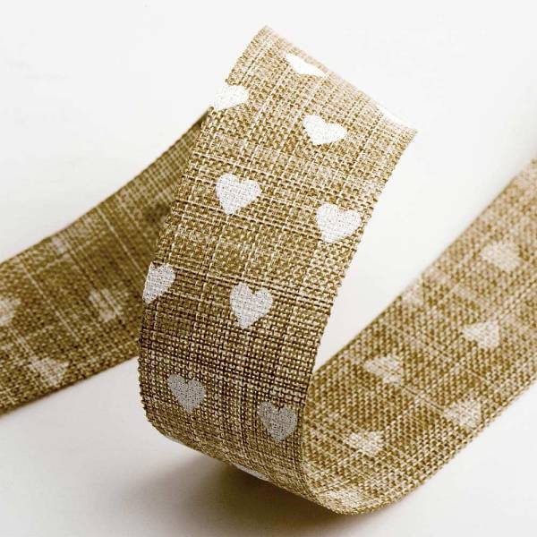 Love Heart Linen Ribbon