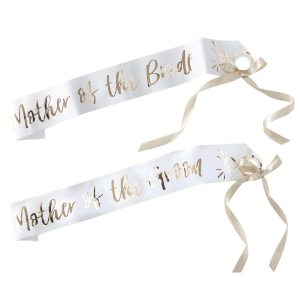 White & Gold Mother of the Bride/Groom Sashes