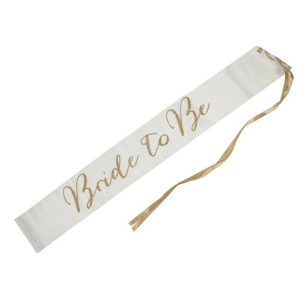 White Fabric Bride To Be Sash