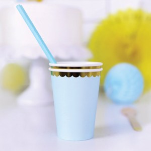 Baby Blue and Gold Paper Cups