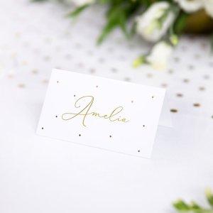 Metallic Gold Dots Place Cards