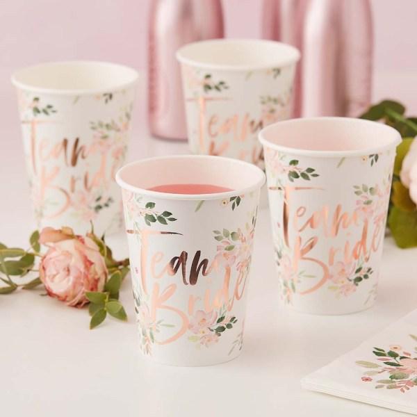 Floral Team Bride Paper Cups