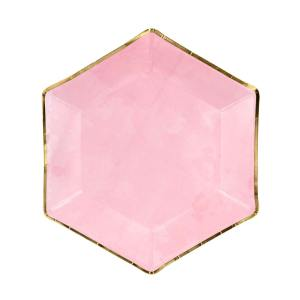 Pink & Gold Trim Hexagon Plates