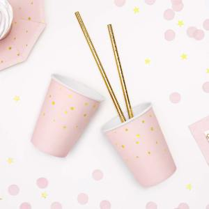 Pink and Gold Star Paper Cups
