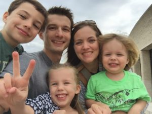 A family selfie. Biddix with his wife, Erika, and their children: Jackson, 8, Clare, 7, and Benjamin, 4.