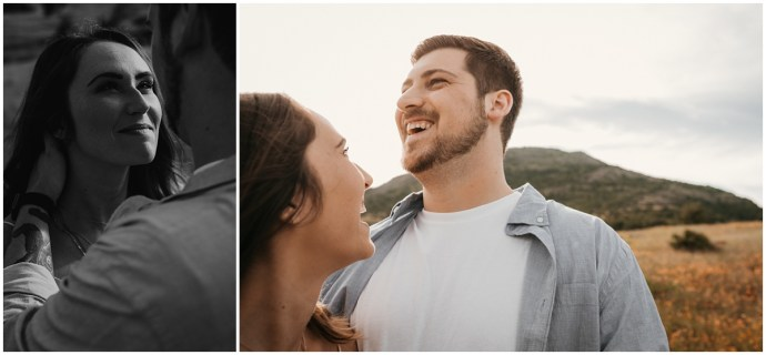 young couple laughs with each other in the mountains around texas and she looks up at him and smiles. photo sessions as christmas gifts