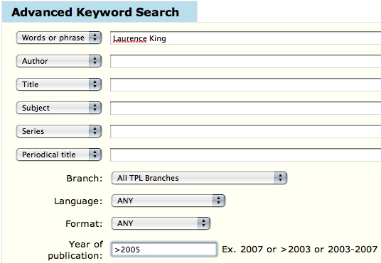 Advanced-search screen with Laurence King filled into the Words or phrase field and >2005 in Year of publication