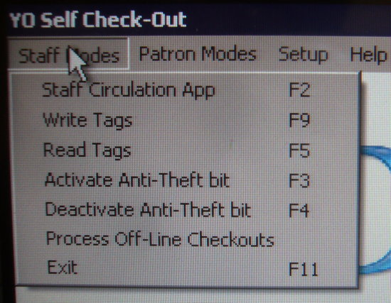 Staff Modes: Staff Circulation App F2, Write Tags F9, Read Tags F5, Activate Anti-Theft bit F3, Deactivate Anti-Theft bit F4, Process Offline Checkouts, Exit