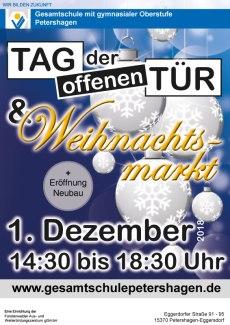 Gesamtschule Petershagen_Weihnachtsmarkt und Tag der offenen Tuer am 1. Dezember 2018_Plakat