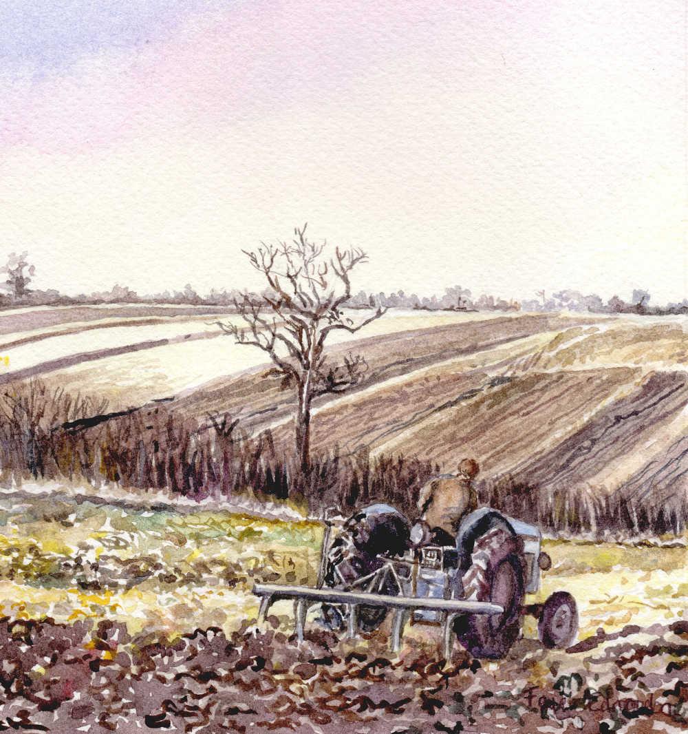 Painting - 'A harrowing time', watercolour by Faye Edmondson