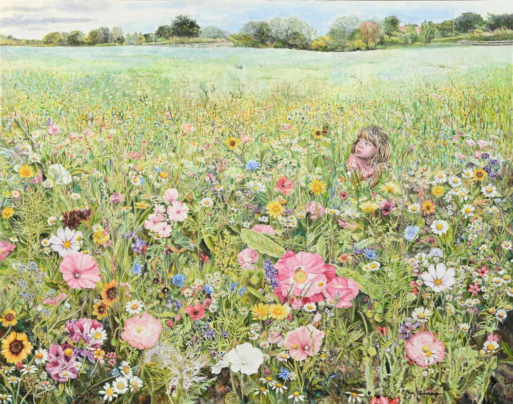 'Dreamer in the field of dreams', by Faye Edmondson. Watercolour on paper.