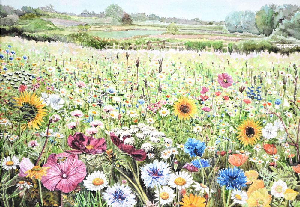 Field of Dreams, South Petherton - watercolour on paper by Somerset artist, Faye Edmondson