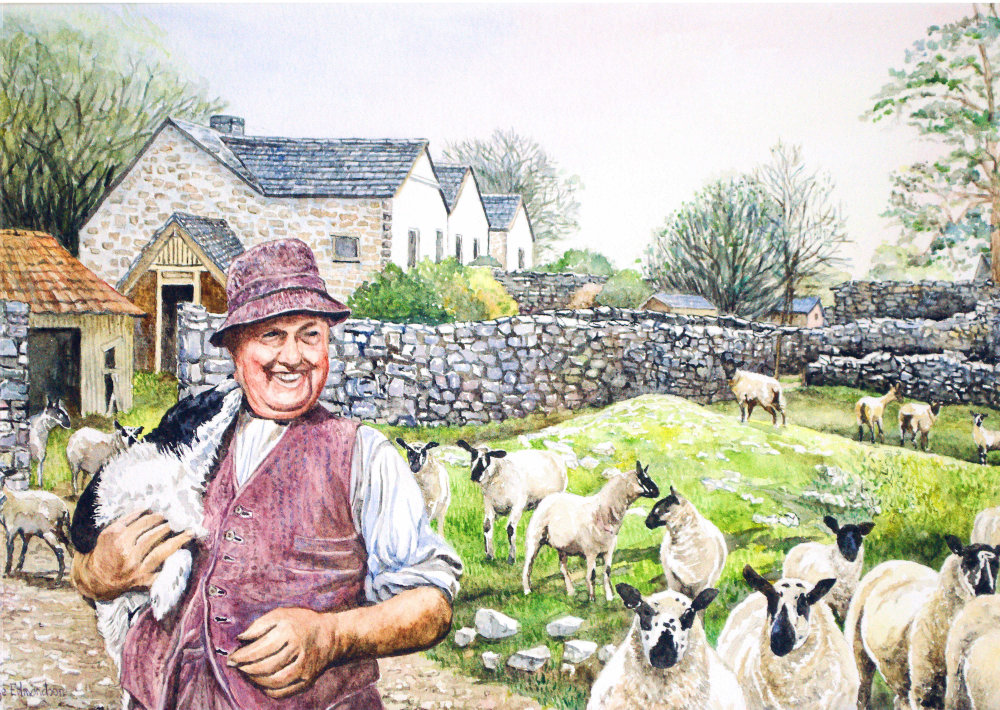 The happy shepherd, a watercolour painting by Somerset artist, Faye Edmondson