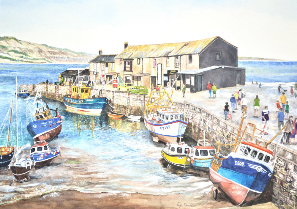 A watercolour painting of Lyme Regis by the Somerset artist, Faye Edmondson