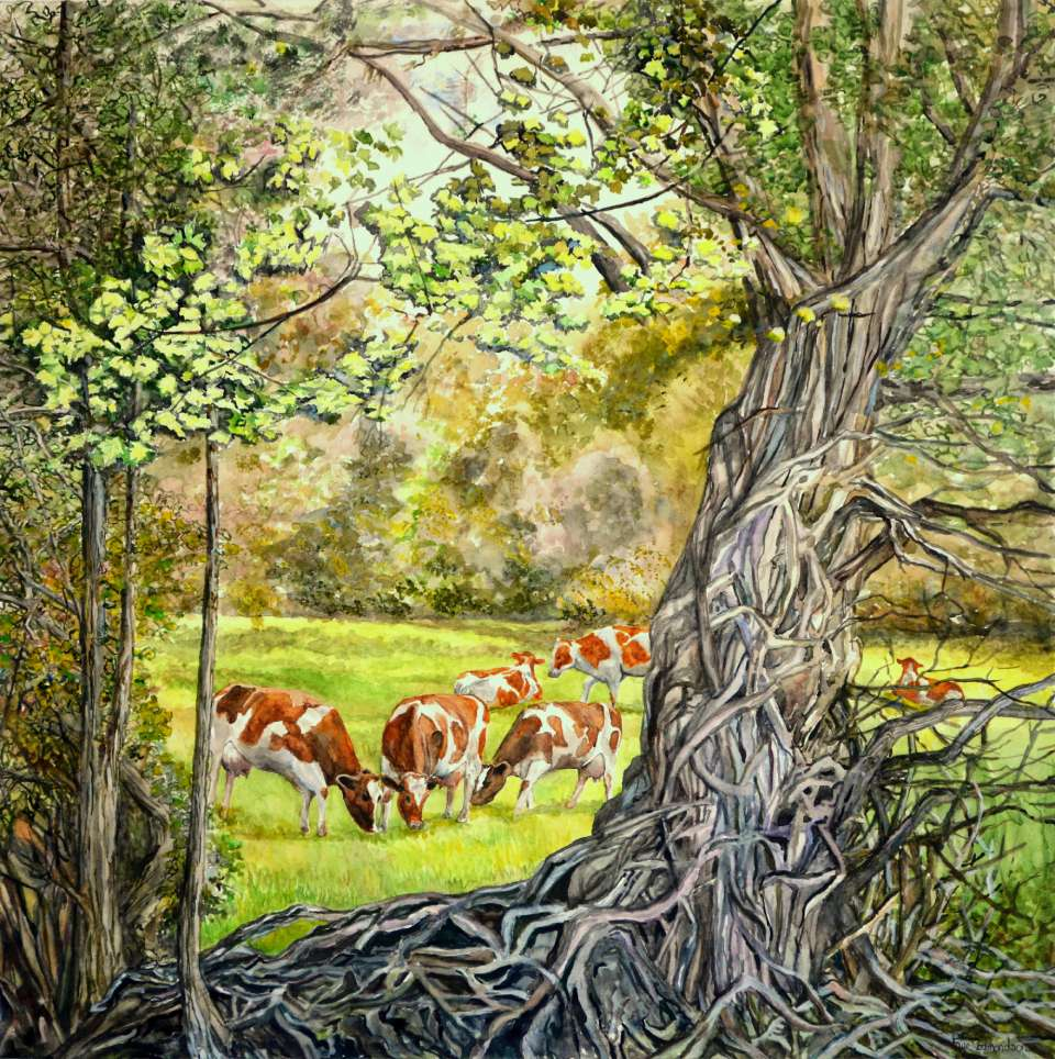'Through the trees', an idyllic rural scene, painted in watercolours by Faye Edmondson of Somerset