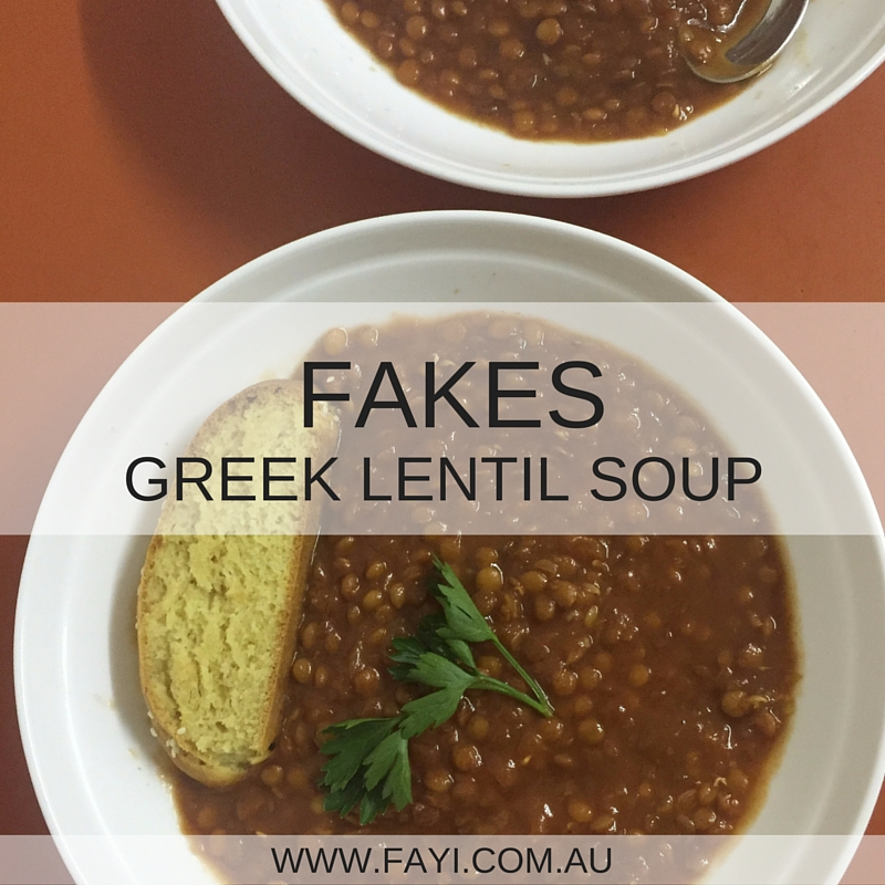 Fakes Greek Lentil Soup