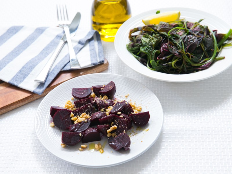 Thermomix Beetroot and Horta Steamed Greens