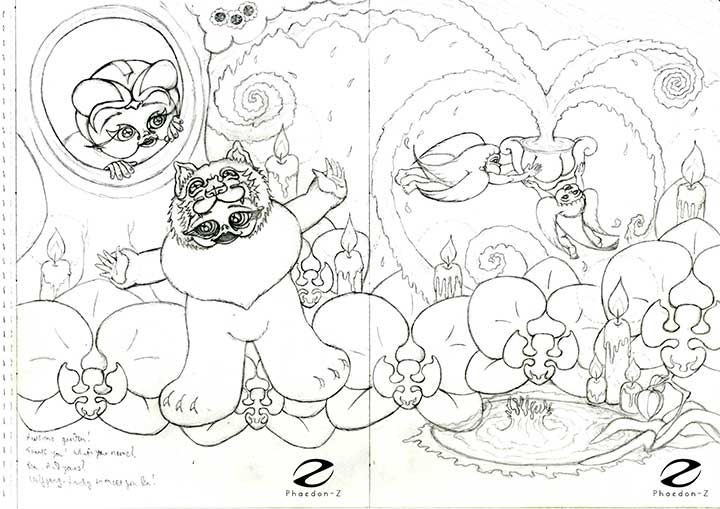 Pencil sketch for a spread from Sparky and the Runaways written and illustrated by Phaedon-Z