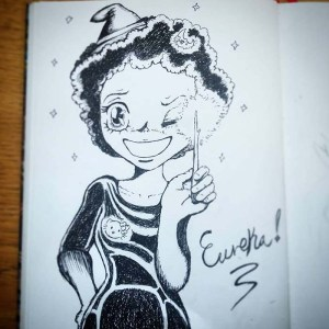 Black and white ink drawing of a manga witch holding up a glowing twig with the word Eurika! written next her,