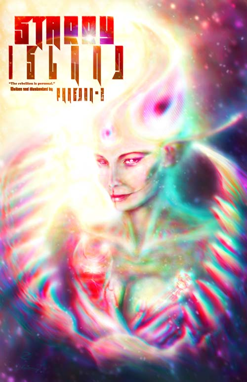 Cover/Poster for Starry Island, science fiction/horror novella written and illustrated by Phaedon-Z. The illustration is featuring the creature design for Glory the Wrathful.