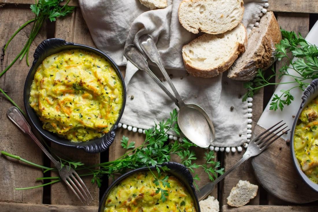 gratinado de legumes e peixe