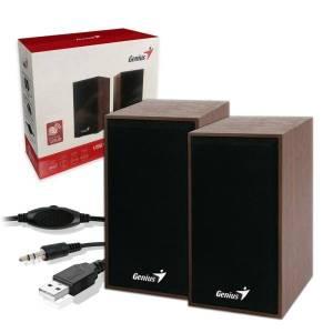 genius speakers sp hf180 2 0ch 6w wooden 1