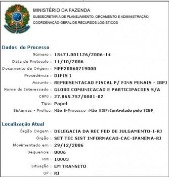 Processo que investiga a fraude da Globo no site da REceita. Foto: Pragmatismo Político.