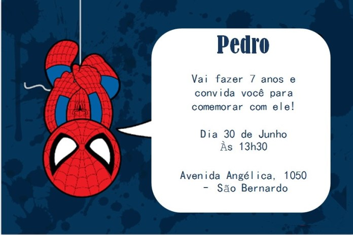 convite-homem-aranha-aniversario Homem Aranha Festa infantil