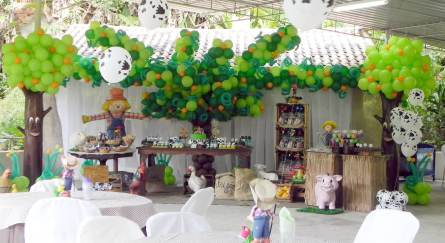 Balões-tema-festa-fazendinha-02 Idéias para festa Infantil com tema Fazendinha para meninos e meninas