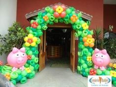 Balões-tema-festa-fazendinha-16 Idéias para festa Infantil com tema Fazendinha para meninos e meninas
