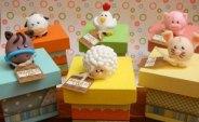 Lembrancinha-aniversário-fazendinha-caxinhas-mdf-biscuit Idéias para festa Infantil com tema Fazendinha para meninos e meninas