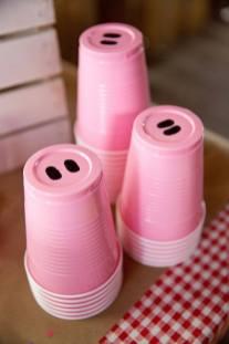 Lembrancinha-aniversário-fazendinha-copo-nariz-de-porco Idéias para festa Infantil com tema Fazendinha para meninos e meninas
