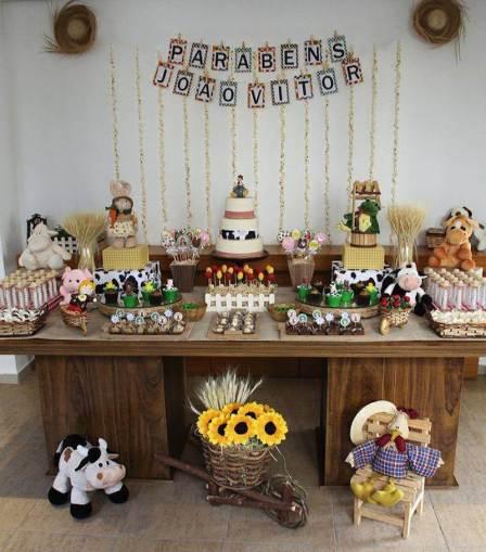 aniverssário-infantil-decoração-tema-festa-fazendinha-22 Idéias para festa Infantil com tema Fazendinha para meninos e meninas