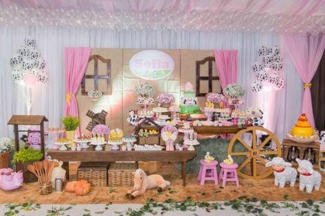 aniverssário-infantil-decoração-tema-festa-fazendinha-menina-05 Idéias para festa Infantil com tema Fazendinha para meninos e meninas