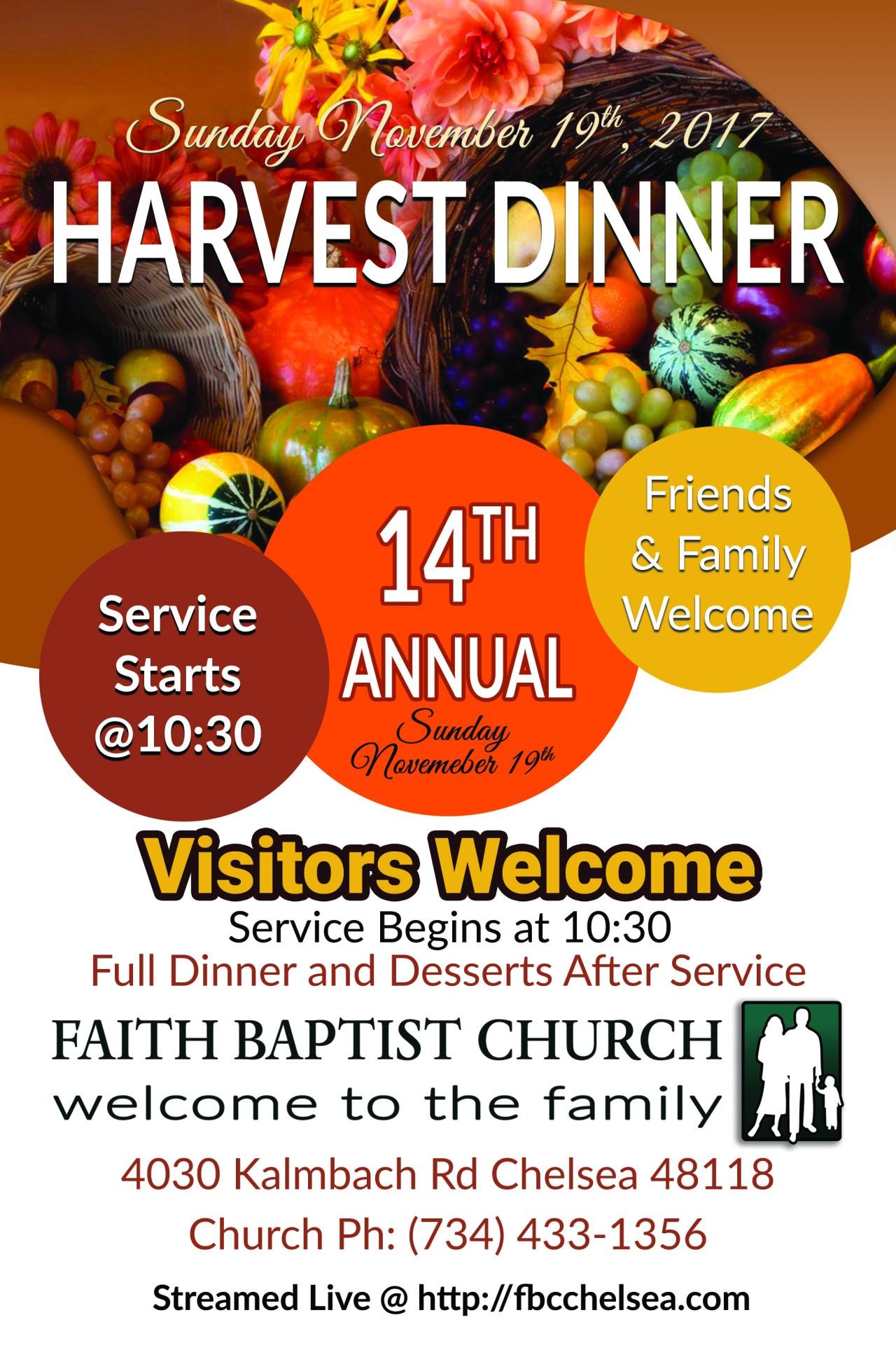 2017 Faith Baptist Church Harvest Dinner Poster Image
