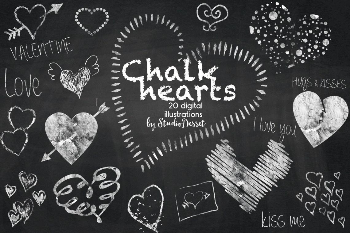 Download Chalk Hearts - Love Chalkboard Cliparts