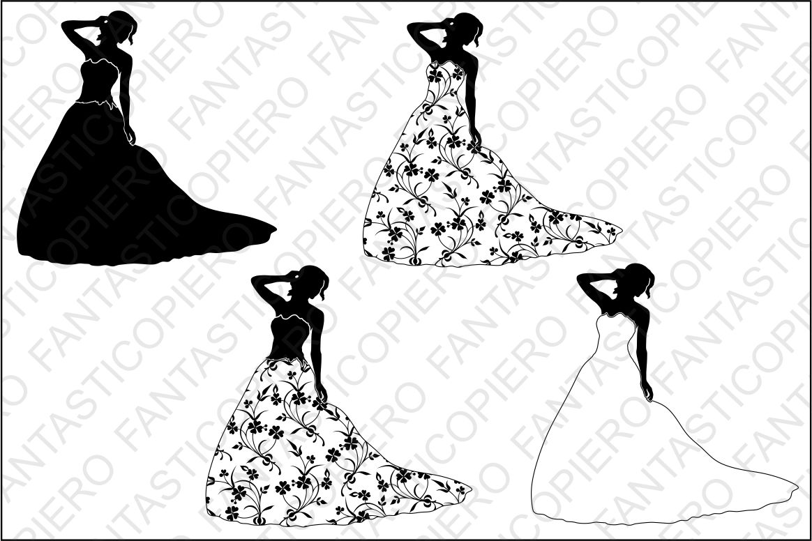 Woman In Dress With Flowers Svg Files For Silhouette Cameo