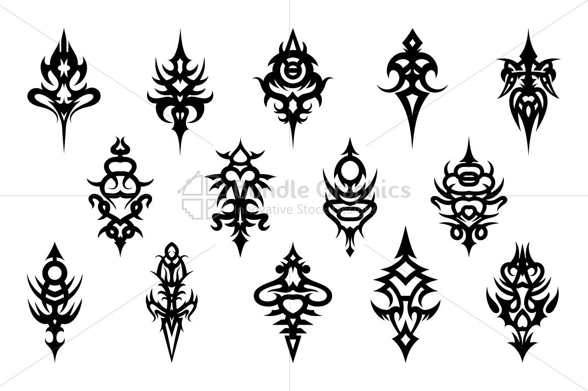 Tribal Symmetrical Black Vector Design Set